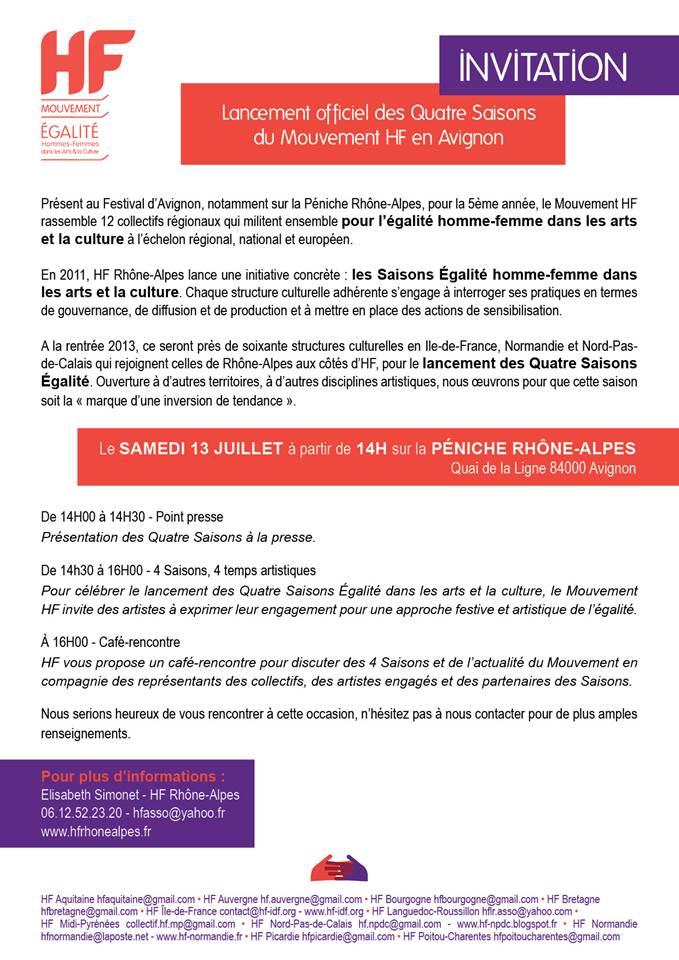 Lancement officiel en Avignon des 4 saisons égalités du Mouvement HF